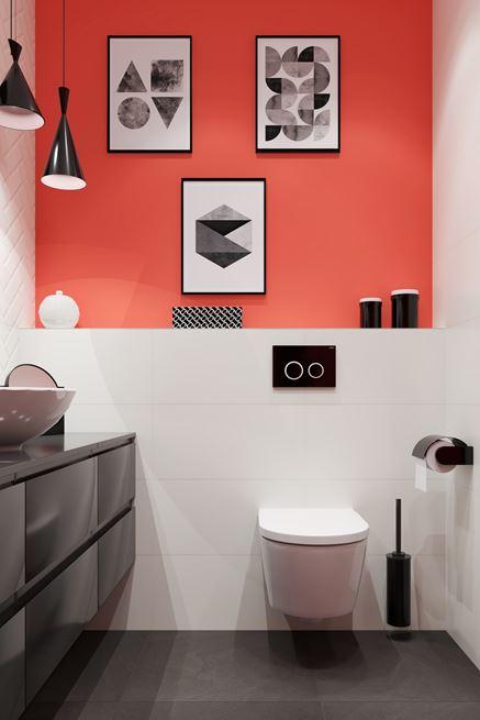 Dekoracyjne grafiki w koralowej łazience - Living Coral