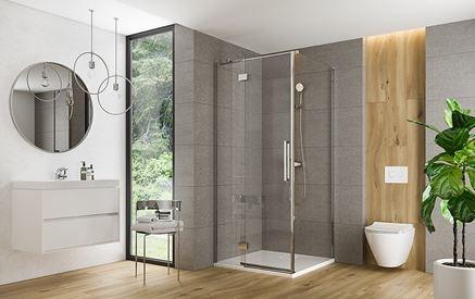 Nowoczesna łazienka z dodatkiem drewna