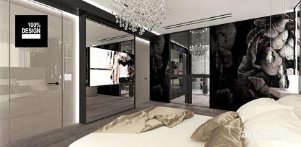 Lustrzana ścianka TV w sypialni
