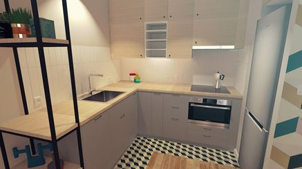 Aneks kuchenny - szarość i jasne drewno