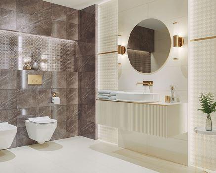 Łazienka glamour z brązowym marmurem