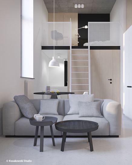 Salon w kawalerce w stylu loft