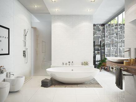 Nowoczesny salon kąpielowy z akcesoriami bambusowymi Ferro