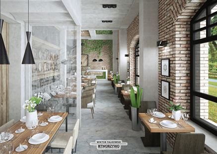 """Wnętrze restauracji w projekcie biura """"Tworzywo"""""""