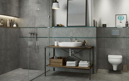 Szara łazienka z betonowymi płytami