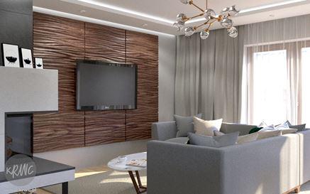 Ścianka RTV z drewnianymi, tłoczonymi panelami
