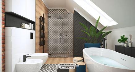 Łazienka na piętrze z wanną wolnostojącą