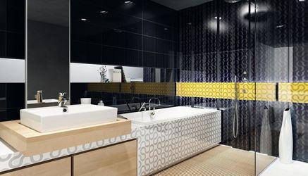 Czarno-biała łazienka z mocnym żółtym akcentem