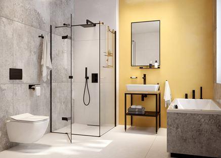 Szara łazienka z żółtą ścianą i armaturą Deante Anemon Bis