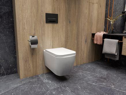 Wykończona drewnem strefa toaletowa z miską wc