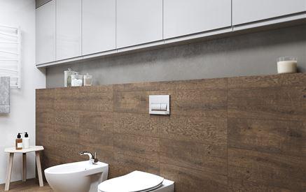 Łazienka z podwieszanymi szafkami