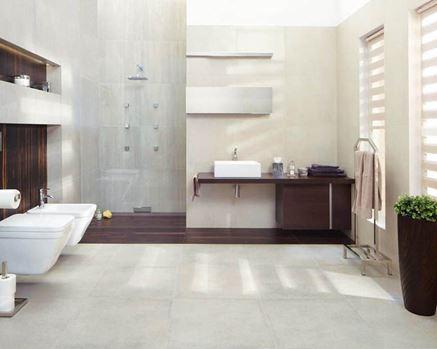 Minimalistyczna łazienka z cementową płytką Paradyż Rino