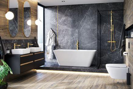 Łazienka glamour w ziemnym kamieniu i drewnie