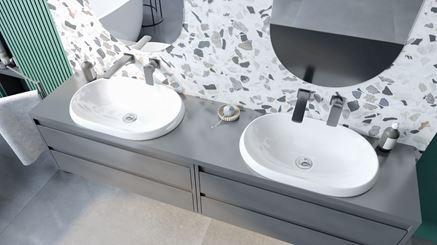 Nowoczesne umywalki wpuszczane w blat Lupio