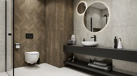 Drewno i kamień w stylowej łazience
