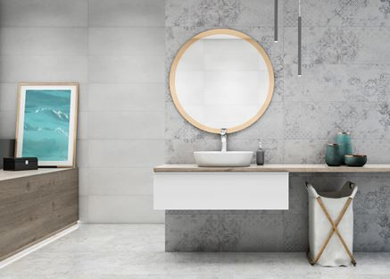 Szara łazienka z  subtelnymi, ornamentowymi dekorami
