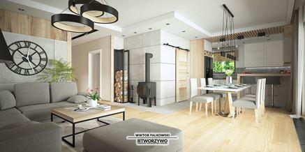 Nowoczesna strefa dzienna w domu jednorodzinnym z drewnem i betonem