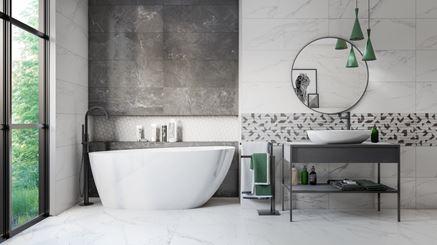 Biało-szara łazienka Azario Bireno