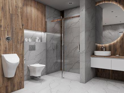 Szaro-brązowa łazienka z białą ceramiką