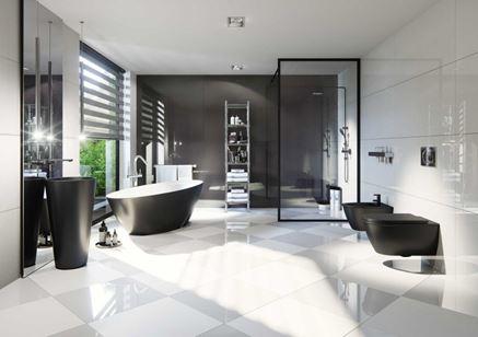 Czarno-biała łazienka z płytką gresową Nowa Gala Concept