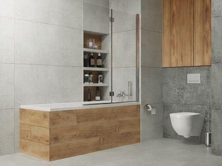 Szara łazienka w kamieniu z wanną z parawanem