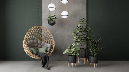 Zielony salon z płytą wielkoformatową
