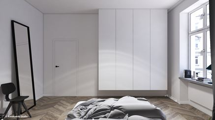 Zabudowa meblowa w sypialni skandynawskiej