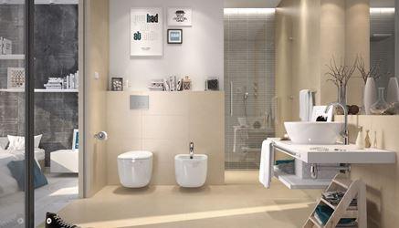 Beżowa łazienka z płytkami Opoczno Urban Mix
