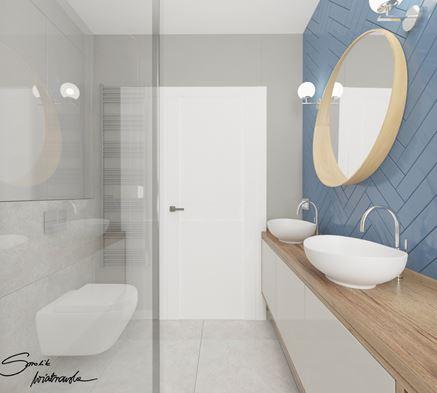 łazienka dla gości z niebieskimi płytkami