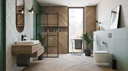 Zieleń i płytki drewnopodobne w modnej łazience