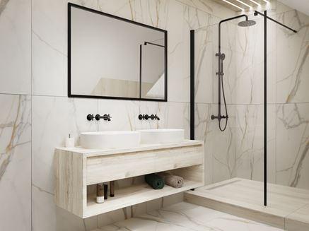 Nowoczesna odsłona marmurowej ściany w łazience