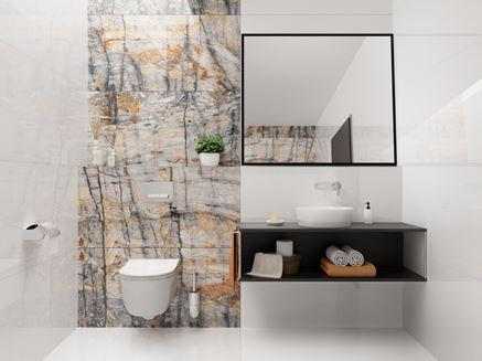 Nowoczesna łazienka z płytką ozdobną imitującą kamień