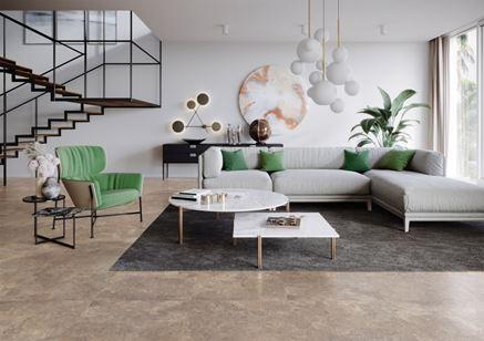 Nowoczesny salon z kamienną podłogą