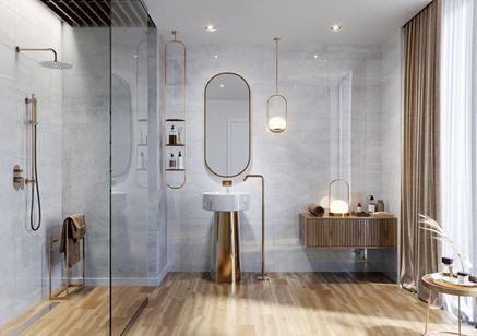 Łazienka glamour w drewnie i szarym połysku