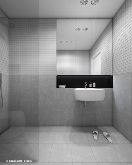 Umywalka w szarej łazience