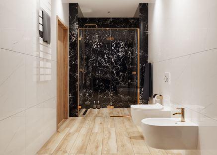 Jasna łazienka z drewnem i czarnym marmurem