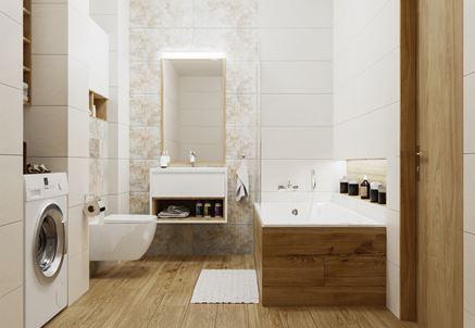 Biała łazienka z drewnianym wykończeniem podłogi