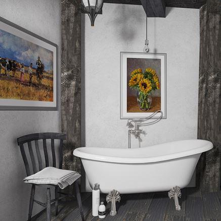Szara łazienka z elementami klasycznymi i vintage