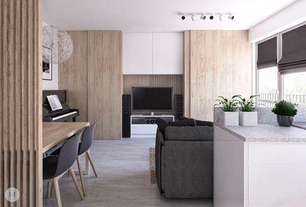 Pomysł na drewnianą zabudowę ścianki telewizyjnej