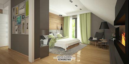 Sypialnia z kominkiem na poddaszu