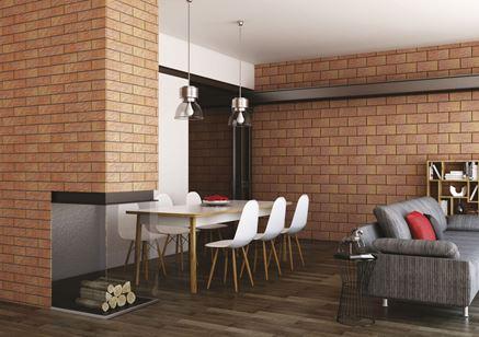 Salon w klimacie industrialnym z płytkami Kalahari