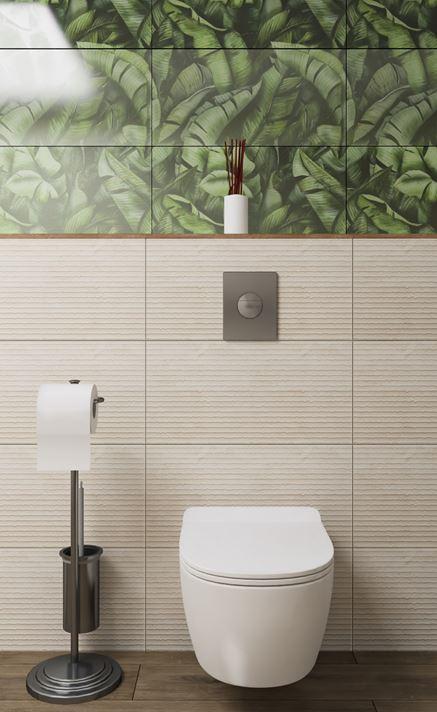 Miska wc na tle piaskowej ściany strukturalnej