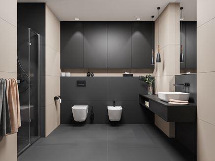 Nowoczesna łazienka z antracytowymi płytkami