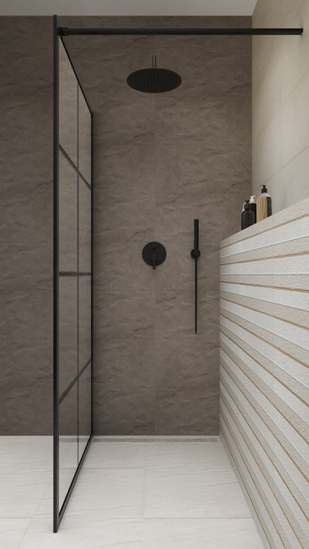 Szara łazienka z kabiną walk-in z czarnymi profilami