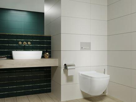 Biało-zielona łazienka z cegiełkową ścianą