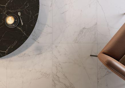 Detal płytki imitującej marmur Cersanit Calacatta Prestigio