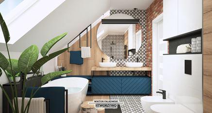 Łazienka z oknem na piętrze
