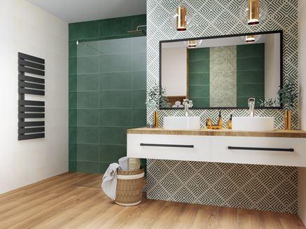 Nowoczesna łazienka w zieleni i brązie