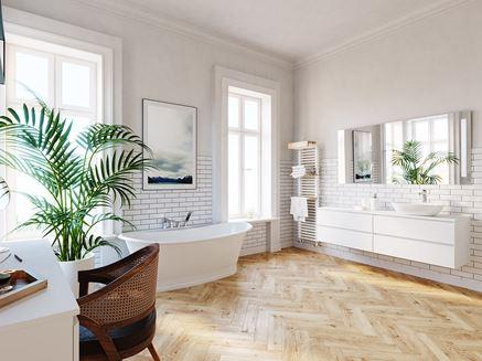 Przestronna łazienka z wanną wolnostojącą Ferro Algeo Square