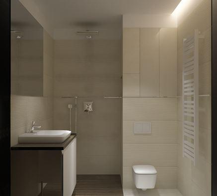 Beżowo-brązowa łązienka z prysznicem walk-in